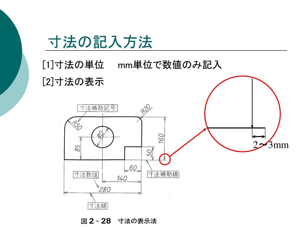 寸法の記入方法 [1]寸法の単位 mm単位で数値のみ記入 [2]寸法の表示 2~3mm